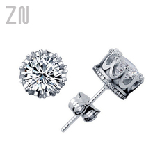 Stud Stud-Earrings Jewelry Zircon Crown Classic Shining Small Gift Women ZN for Crystal