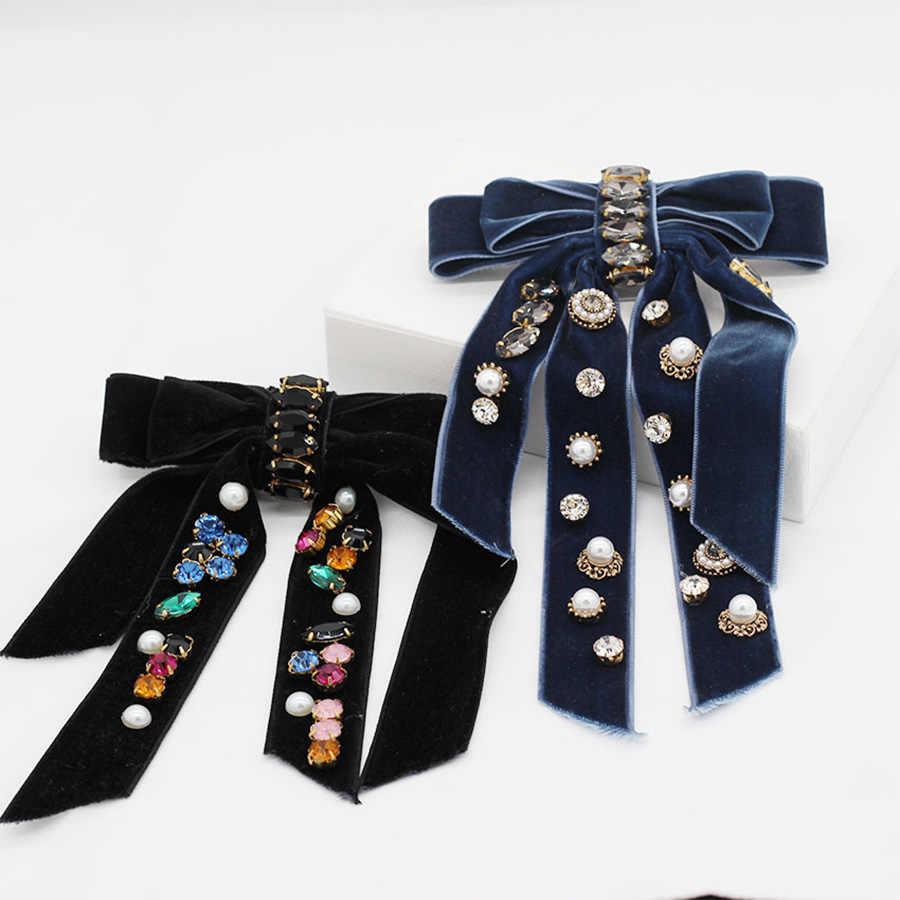 Haimeikang Mode Bogen Haar Clip Quaste Perle Diamant Haarnadel damen Elegante Haar Clip Strass Druck Haar Zubehör
