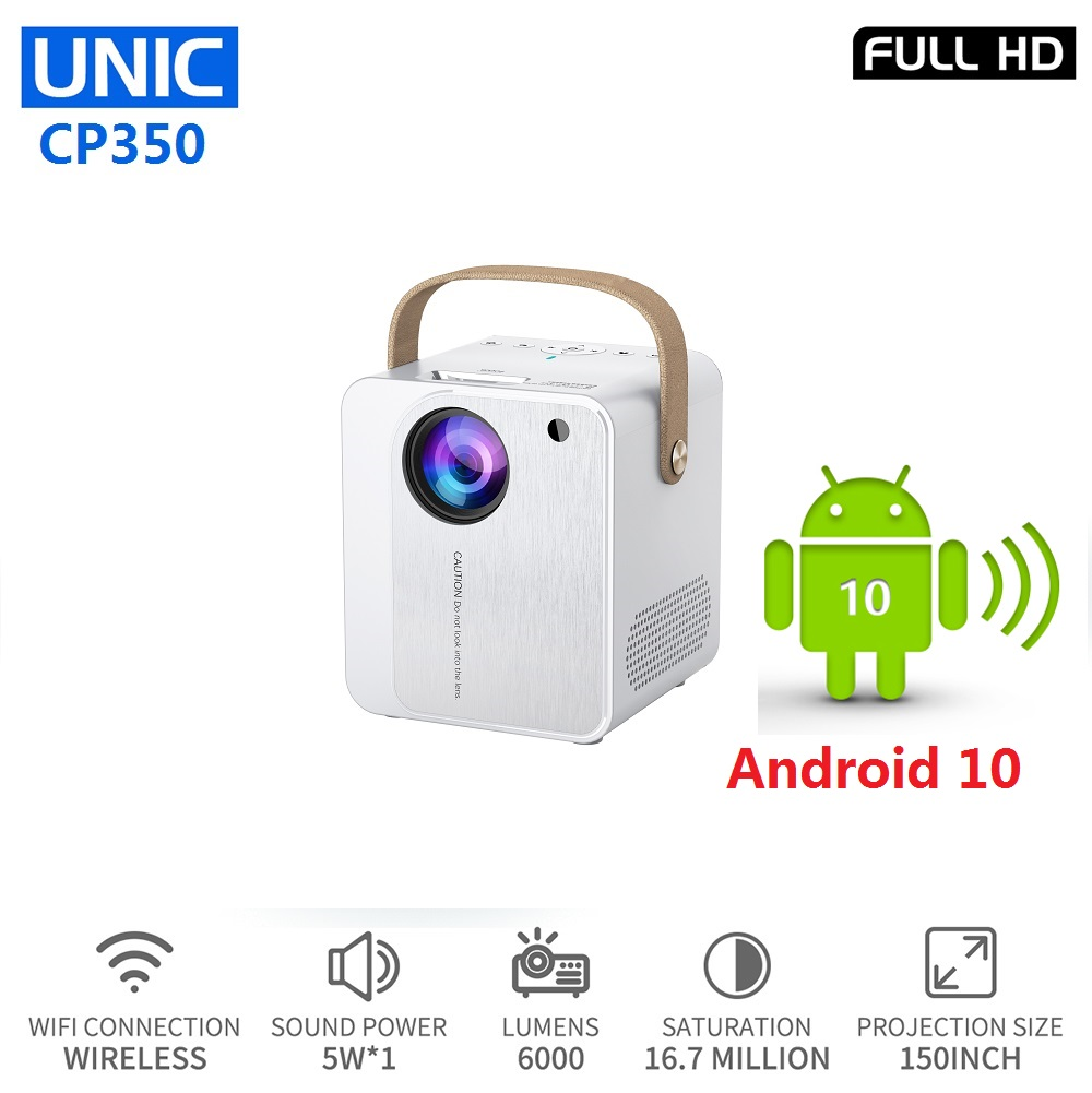 UNIC CP350 Portable LED <font><b>Smart</b></font> Projector 4K Android 10 <font><b>TV</b></font> Box WIFI Support 1080P <font><b>Full</b></font> <font><b>HD</b></font> Proyector HDMI Beamer image