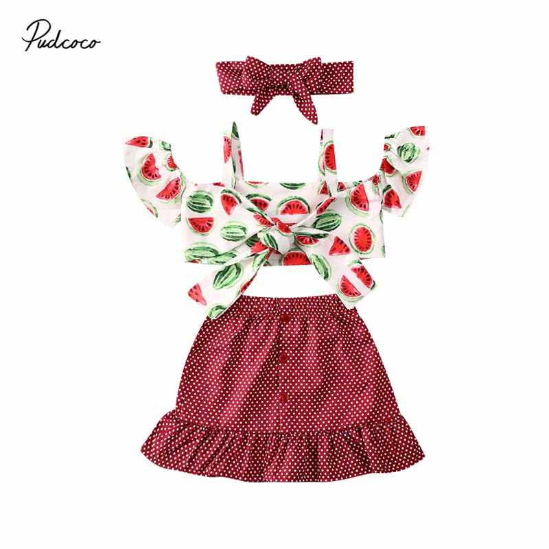 oklady Toddler Baby Girls Summer Outfits Watermelon Vest Shorts with Headband Clothes Sets