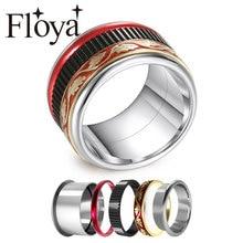 цена Floya Vintage Rings Red Enamel Titanium Men Women Fashion Stainless Steel Rings Black Wedding Band Holiday Anniversary Gift онлайн в 2017 году