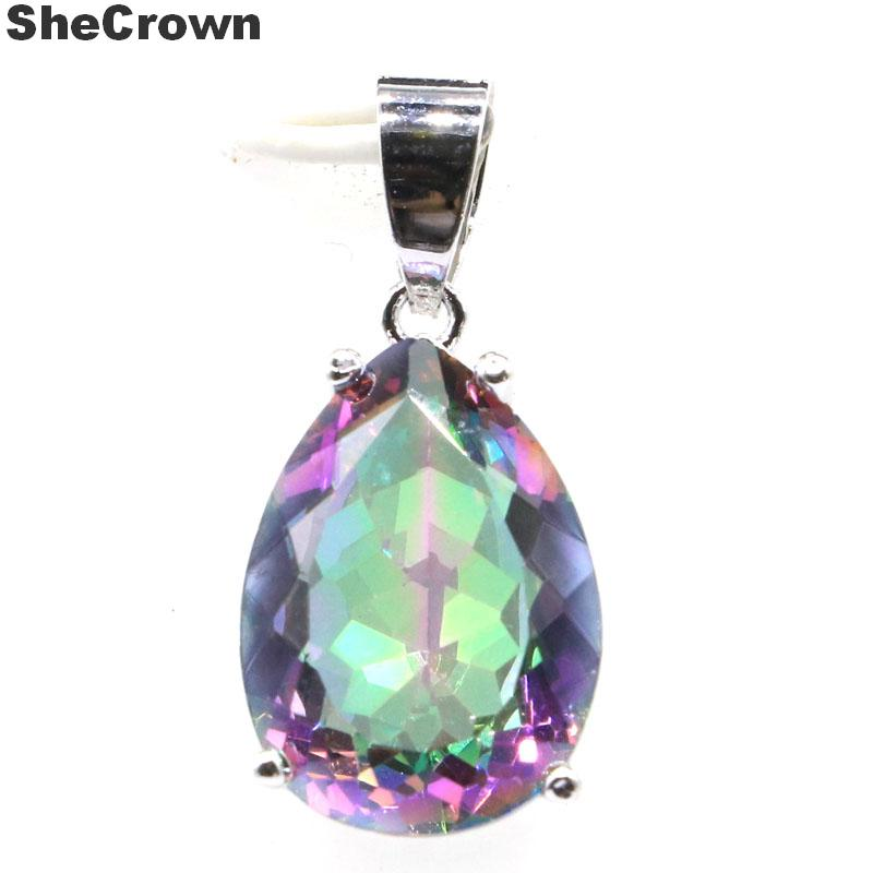 27x13mm SheCrown Hot Sell Drop Shape Fire Rainbow Mystic Topaz Gift For Ladies Woman's Girls Silver Pendant Earrings