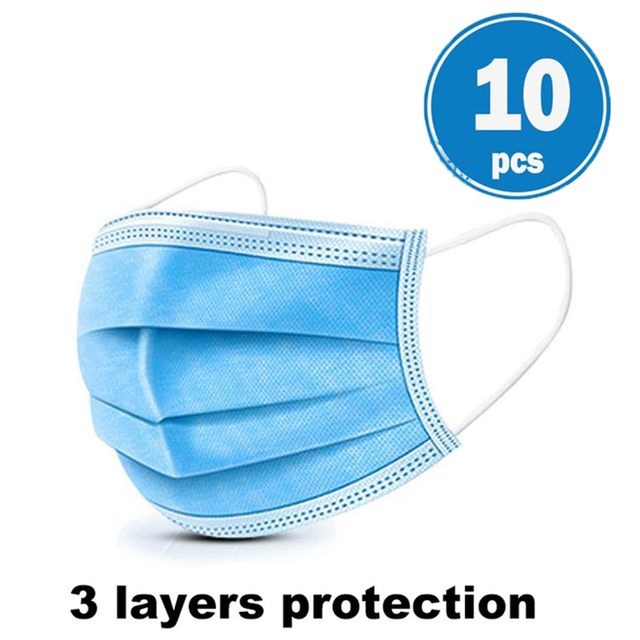 3 Layers Disposable Face Masks Dustproof Protective Cover Bacteria Proof Flu Face Mask Elastic Ear Loop Dust Filter Safe Mask 2