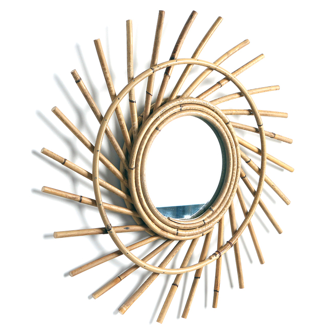Home Rattan Plaited Art Living Room Nordic Style Makeup Decorative Mirror Wall Hanging Bedroom Bathroom Photography Prop 2