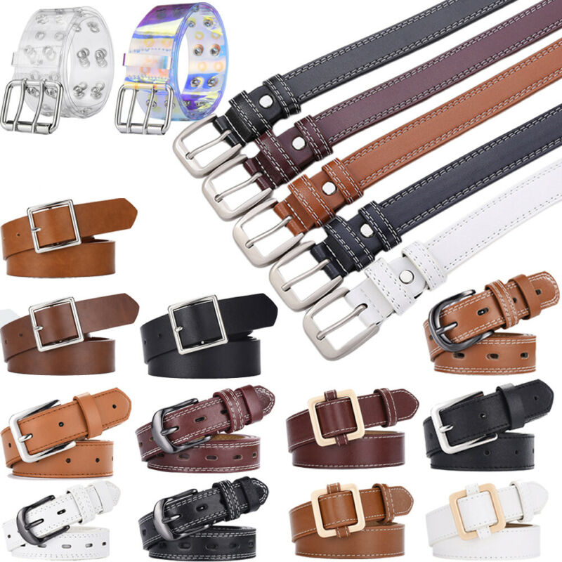 Womens Ladies Leather Buckle Belt Casual For Jeans Dress Waistband Waist Strap