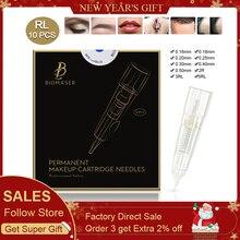 Купить с кэшбэком 10PCS BIOMASER Tattoo Needles Disposable Permanent Makeup Cartridge Needle For Machine Eyebrow Tattoo Lip With 1R,2R,3R,5R