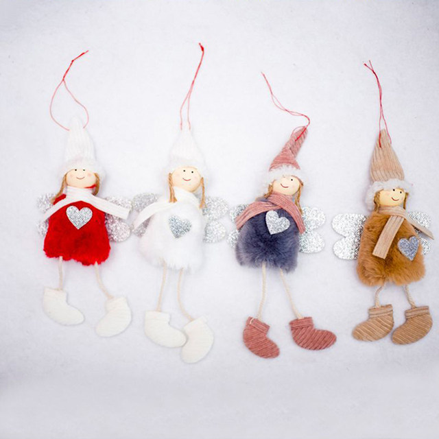 Happy New Year 2020 Latest Christmas Cute Silk Plush Angel Doll Xmas Tree Ornaments Christmas Decoration For Home Kids Gifts 21