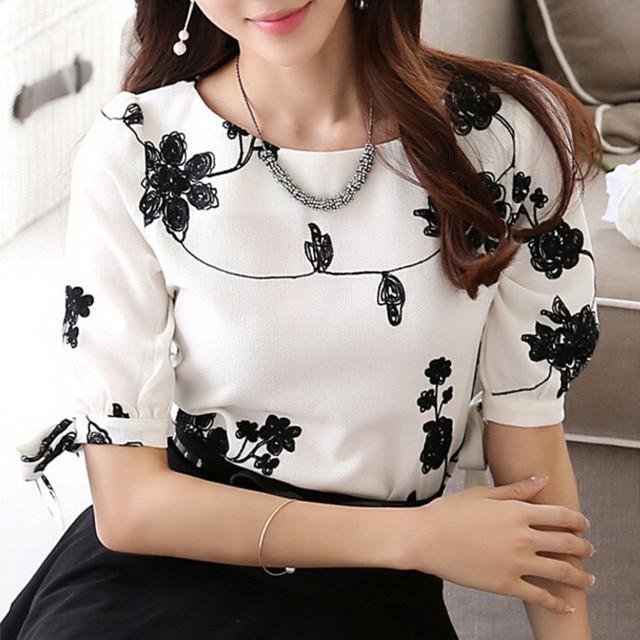 wokeayer Fashion Women Shirt Blouse Summer Tops Chiffon Casual Shirt O Neck Half Sleeve Floral Printing Female Blusas Clothing 1