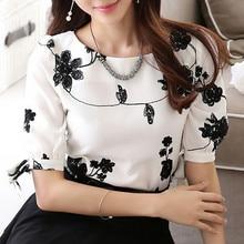wokeayer Fashion Women Shirt Blouse Summer Tops Chiffon Casual Shirt O Neck Half Sleeve Floral Printing Female Blusas Clothing