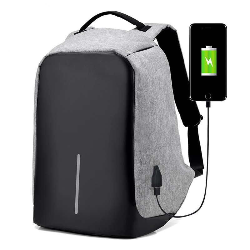 Anti-Theft Backpack Multi-functional Computer Bag USB Charging Solid Color Backpack Fashion-Style College Casual 15.6-Inch