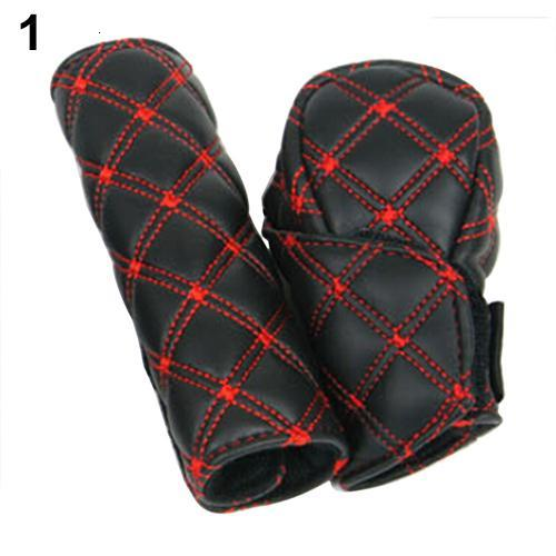 Car Faux Leather Grid Shift Knob Cover Hand Brake Cover Sleeve 2 In 1 Set Interior Accessories