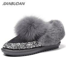 JIANBUDAN Botas de nieve de felpa de cuero con lentejuelas para mujer, botines cálidos de pelo de zorro, zapatos planos de algodón de felpa suave, 35 40