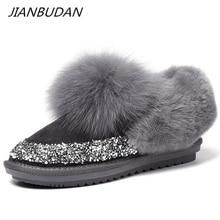JIANBUDAN Sequin leather Plush womens snow boots Winter warm Fox hair Ankle boots Soft plush womens flat cotton shoes 35 40