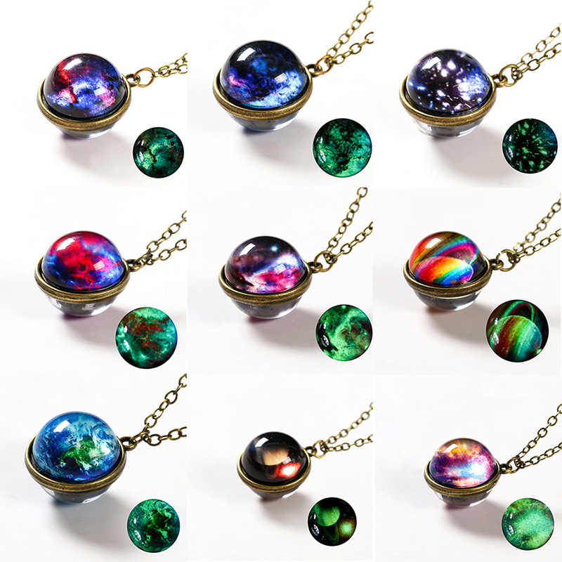 2019 Galaxy Women Pendant Necklace Luminous Universe Pendant Double Sided Planet Glass Man Necklace Glow in the Dark Jewelry