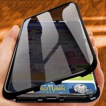 حافظة زجاجية مزدوجة الجوانب لهاتف آيفون 11Pro Xs Max XR 7 8Plus حافظة 360 حماية كاملة للخصوصية إطار معدني أغلفة مغناطيس فاخرة