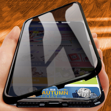 Capa de vidro dupla face para iphone 11pro xs max xr 7 8plus caso 360 proteção de privacidade completa moldura de metal flip capa ímã de luxo