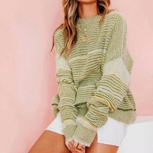 2019 autumn and winter womens sweater striped pullover loose set mohair women