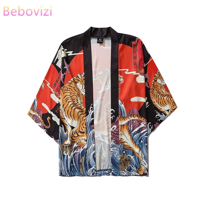 17 Style Tiger Printing Harajuku Japanese Fashion Kimono Women Men 2020 Cardigan Blouse Haori Obi Asian Clothes Samurai
