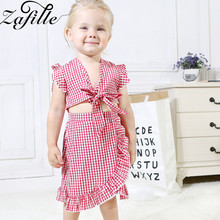 ZAFILLE 2020 Toddler Girls Suit Bowknot Flare Sleeve Top+Skirt 2Pcs Outfits Set Plaid Kids Clothes Summer Cute Baby Girl Clothes spring autumn 3 12y girl suit set long sleeve top skirt girls clothing set cute owl costume for kids teenage clothes