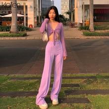 KLALIEN casual high street wide leg pant women summer loose high waist female trousers fashion elegant simple solid color bottom
