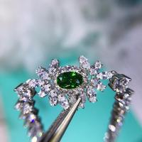 925 Sterling silver natural green gem stone bracelet CZ zircon crystal bangle pave drill flower bracelet wedding party jewelry