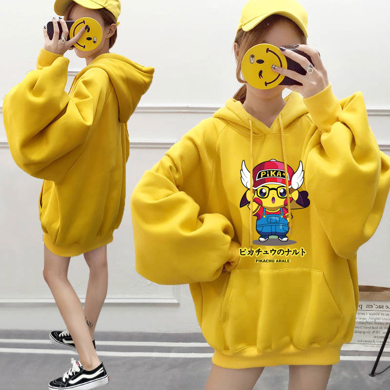 Pokemon Pikachu Hoodies Sweatshirt Women Oversize Yellow Fleece Warm Hooded Coat Autumn Winter Pullover Hoody Hoodie Harajuku