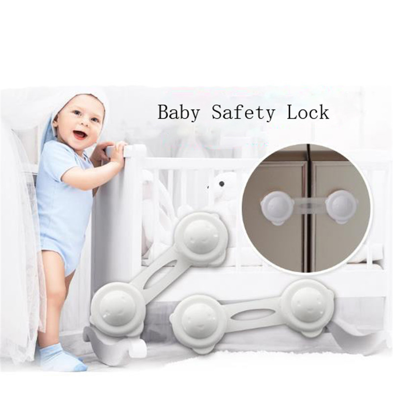 White Kitchen Cabinet Cupboard Slide Lock Child Baby Door Handles Safety Sliding Lock Safe Furniture Protect Lock