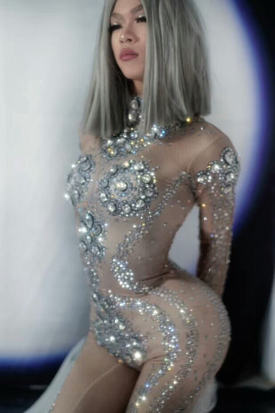 New Sparkly Silver Rhinestones Jumpsuit Sexy Leggings Big Crystal Bodysuit Women Party Night Club Outfit Singer Dance Costume