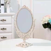 Maquillaje de belleza de doble cara espejo de escritorio tocador de 360 grados giratorio portátil espejo de escritorio de baño herramientas de maquillaje