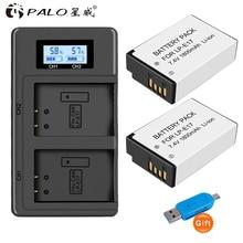цена на PALO 2Pcs LPE17 LP E17 LP-E17 camera Battery+LCD USB Dual Charger for Canon EOS M3 M6 200D 750D 800D 8000D 760D T6i T6s Kiss X8i