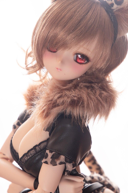 Nueva ropa de muñeca BJD, traje Sexy de gato Ocelot, ropa de cuero con estampado de leopardo DD SD 1/3, accesorios para ropa de muñeca - 4