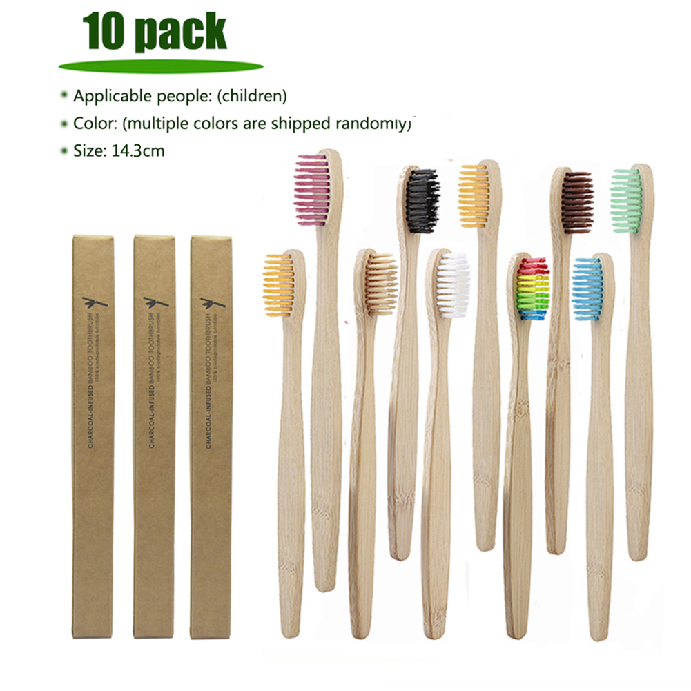 10pcs Natural Bamboo Handle Toothbrush Whitening Oral Care Eco-friendly Tooth child Brushes Travel Portable Toothbrush image