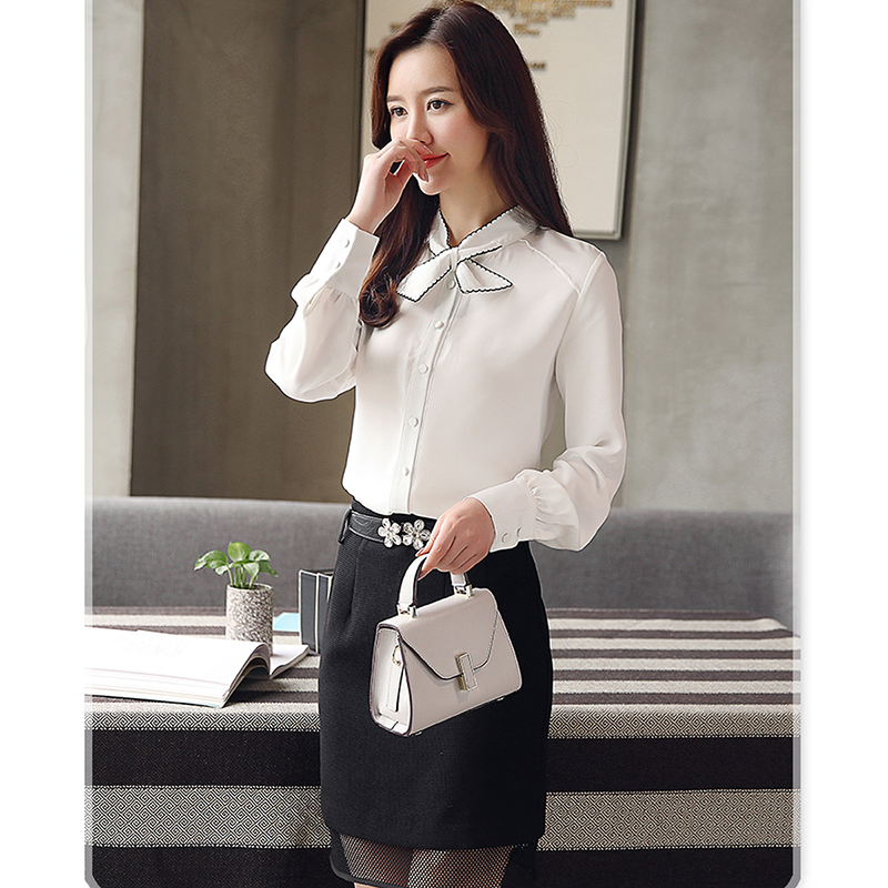 Bow Stand Collar Chiffon Blouse Women Long Sleeve Solid Elegant Shirt Office Lady White Pink Yellow Tops Female Work Clothes New