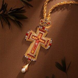 Image 5 - Ortodossa Croce Pettorale Collares Corona Religioso Icona bizantina Cattolica Crocifisso Collana Conferma Del Pendente Collana Lunga