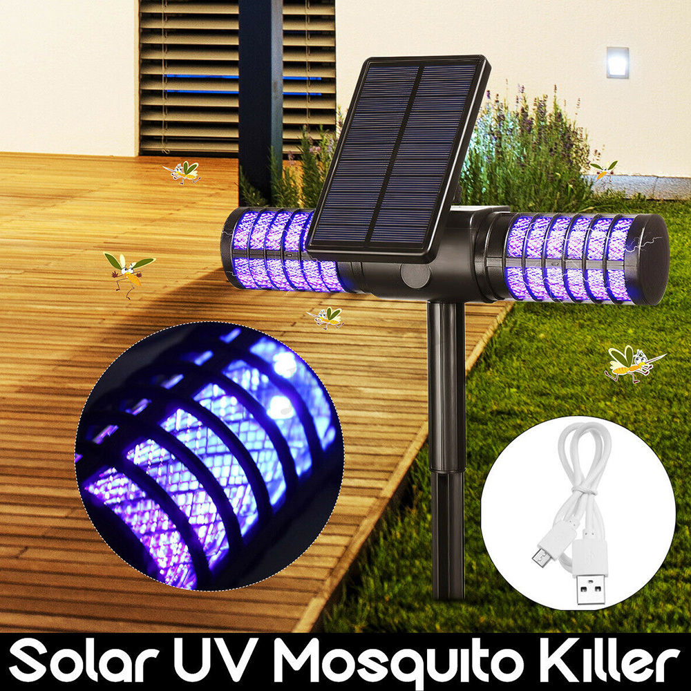 Mosquito Killer Lamp Solar Powered Outdoor IP65 Mosquito Fly Bug Insect Zapper Killer Trap Lamp Outdoor Mosquito Trap Lawn Light