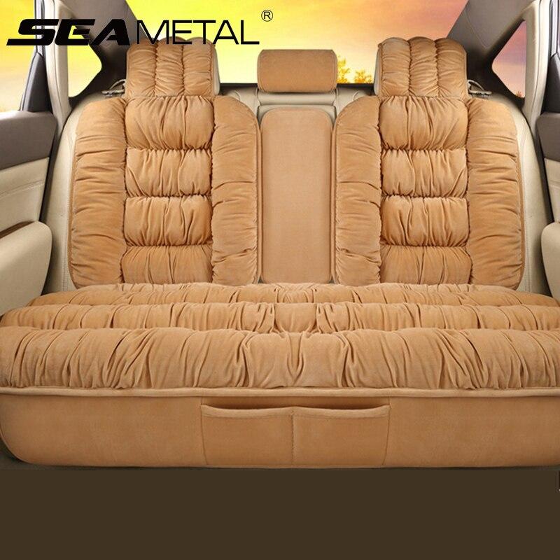 Плюшевые Чехлы для автомобильных сидений, универсальные чехлы для сидений, Защитные чехлы для автомобильных сидений, Теплые Ковровые Коври...