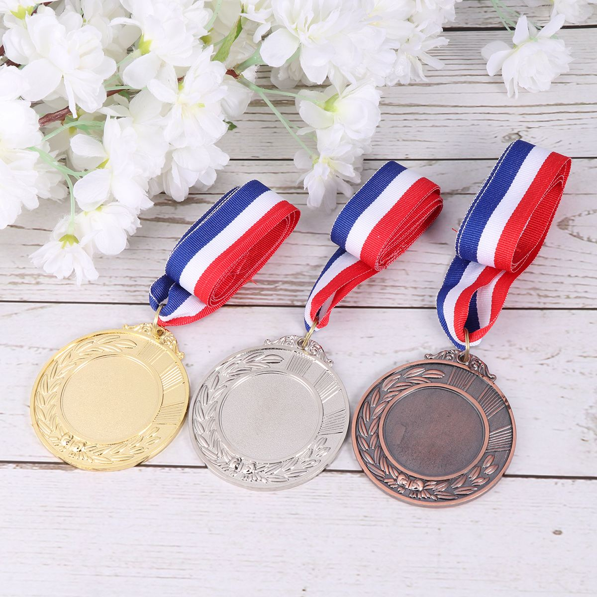 Metal Award Medals With Neck Ribbon Wheats Winner Medal For Sports Games Competition Championship Medal