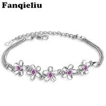 Fanqieliu Vintage Style Jewelry Crystal Flower Bracelets&Bangles For Women Sterling 925 Silver Chain Charm Bracelets FQL20106 fanqieliu crystal wedding jewelry 925 sterling silver chain bracelets