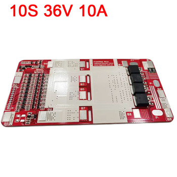 10S 36V 10A 18650 Lithium Battery Protection Board BMS Lipo Li-ion Cell Packs eBike Common Port Charge Protection Circuit image