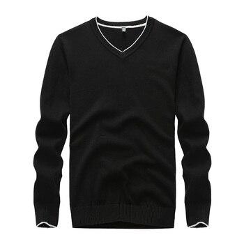 Suéter de hombre de algodón sólido negro suéter de hombre 2019 cuello pico suéter de punto hombres 5 colores suéter amarillo hombres invierno