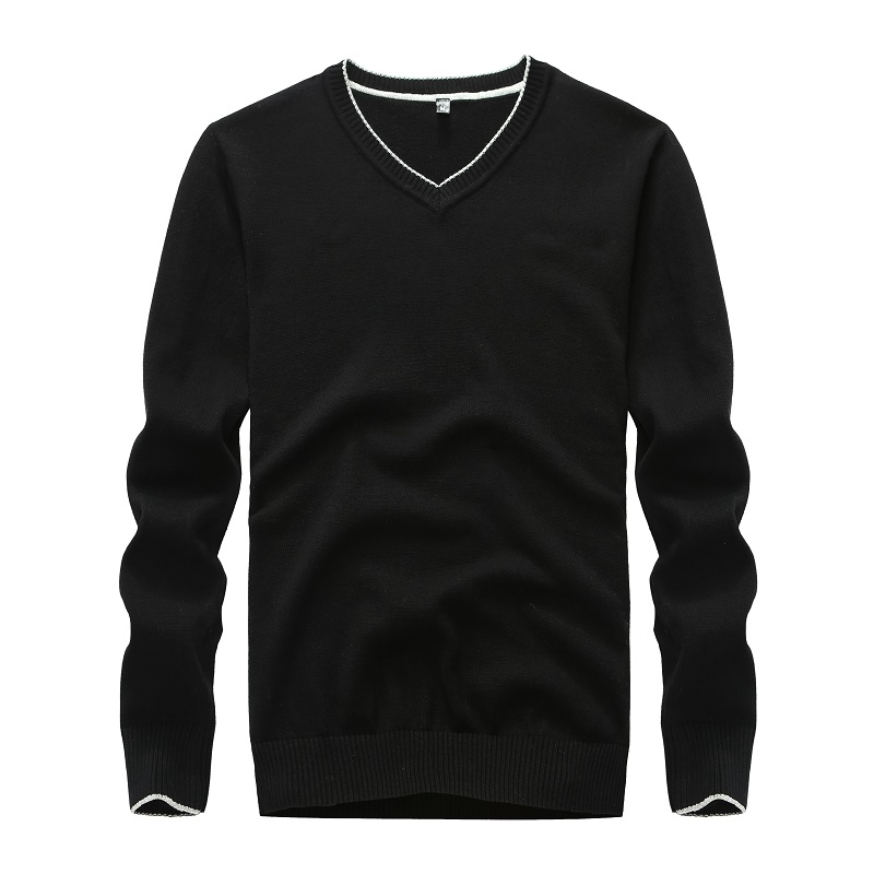Sweater Men Cotton Solid Black Pullover Men Sweater Male 2019 V-neck Knitted Sweater Men 5 Colors Yellow Sweater Men Winter