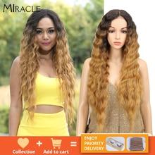Nobre longo peruca preta onda profunda perucas da parte dianteira do laço para as mulheres negras 30 polegadas ombre loira marrom peruca dianteira do laço peruca sintética cosplay