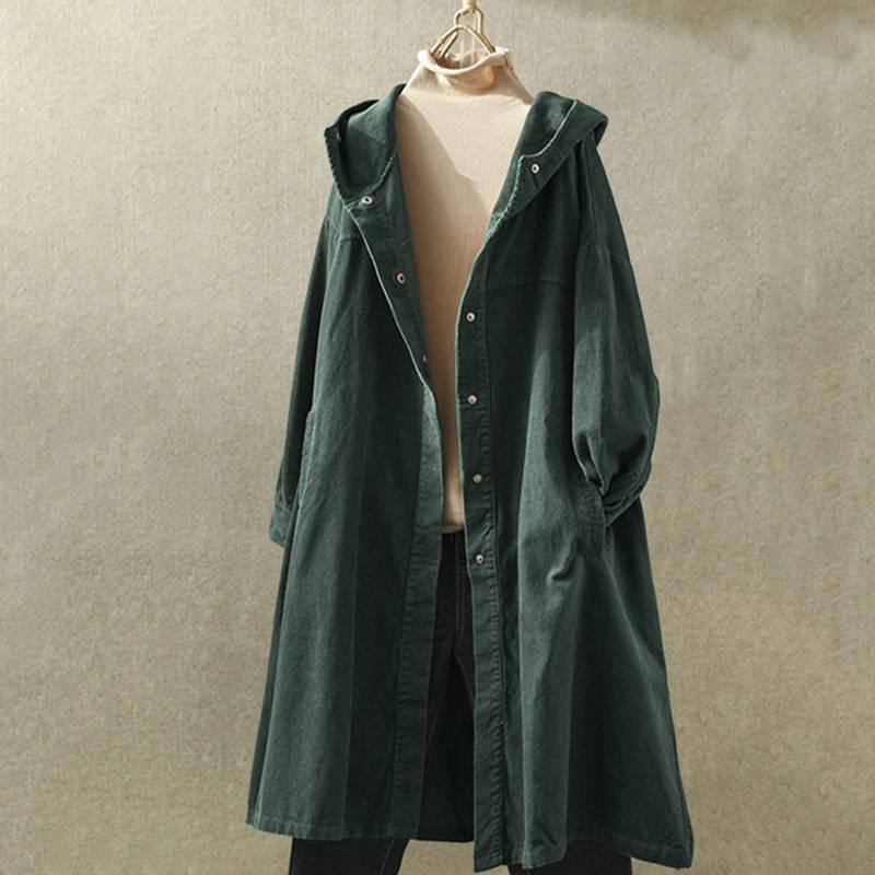 Винтажные женские вельветовые куртки осенние толстовки с длинным рукавом тонкие пальто ZANZEA женские пуговицы вниз длинный кардиган с капюш...