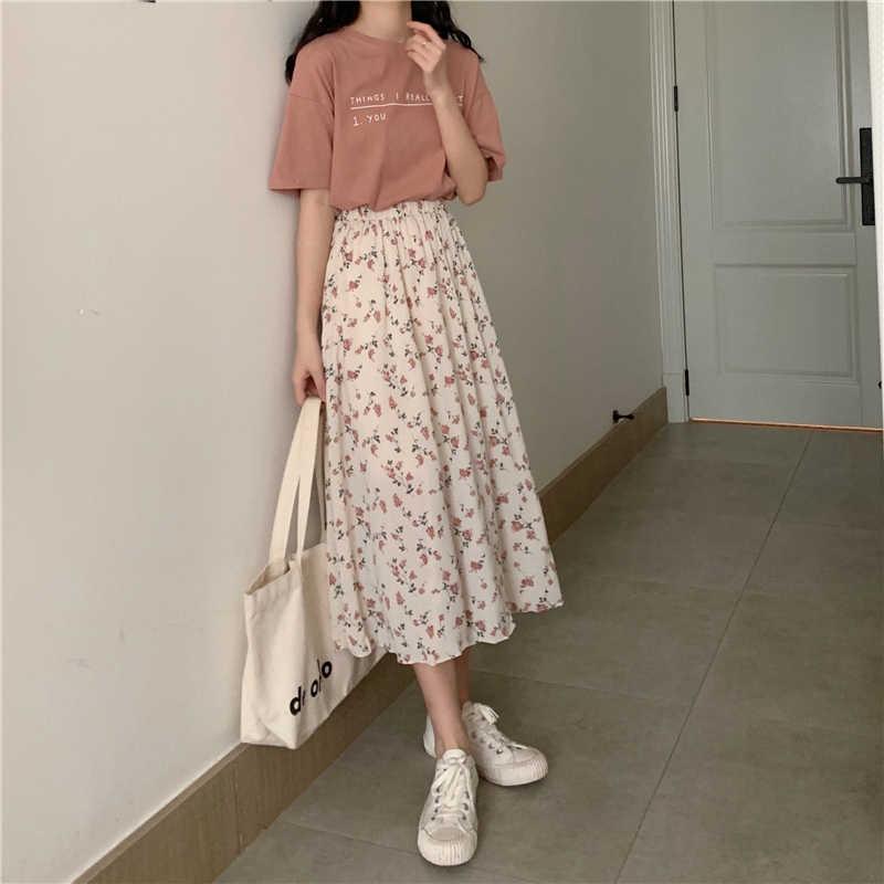 Langen Rock Frauen Röcke Kleidung 2020 Frühling Sommer Weiß floral Hohe Taille Elastische Harajuku Vintage Streetwear Lose Chiffon