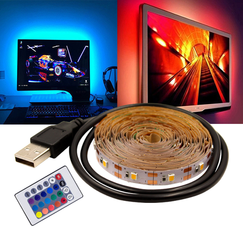 USB LED Tape Light 5V RGB Strip 0.5m 1m 2m 3m 5m Flexible Backlight TV Background Decor Neon Light Warm White
