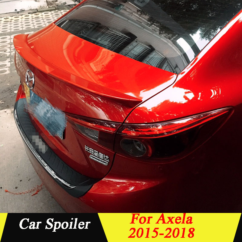 For New <font><b>Mazda</b></font> <font><b>3</b></font> Axela 2015 2016 2017 <font><b>2018</b></font> lip <font><b>Spoiler</b></font> ABS Plastic Primer Color Car Tail Wing Decoration Rear Trunk <font><b>Spoiler</b></font> image