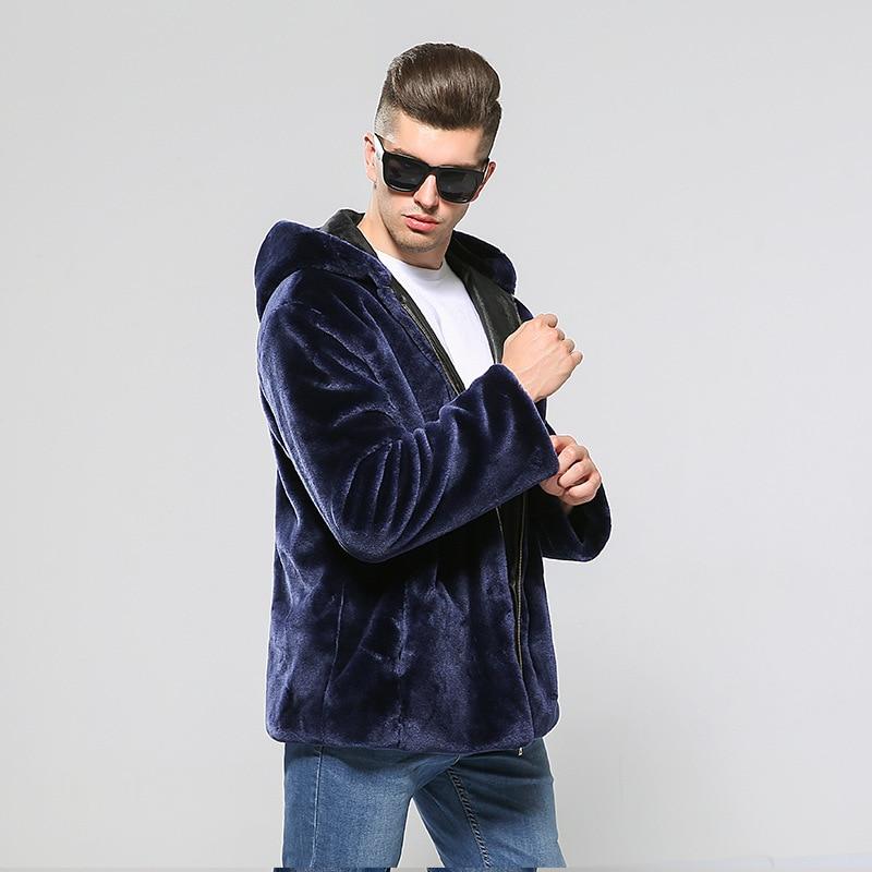 Новая мужская меховая куртка, Осень зима, Корейская версия, шапка из меха, утолщенная, большой размер, норка, мужской мех - 4