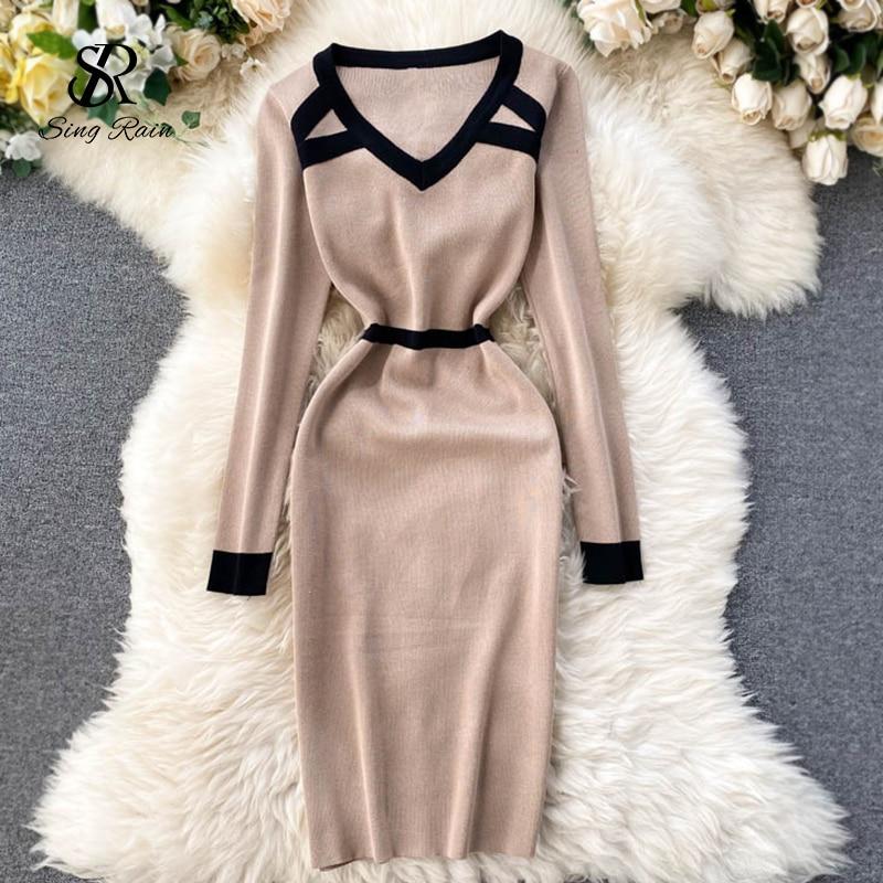 Женское эластичное трикотажное платье SINGRAIN, облегающее теплое трикотажное платье с v образным вырезом и длинным рукавом, осенне зимнее корейское платье свитер Ins|Платья| | АлиЭкспресс