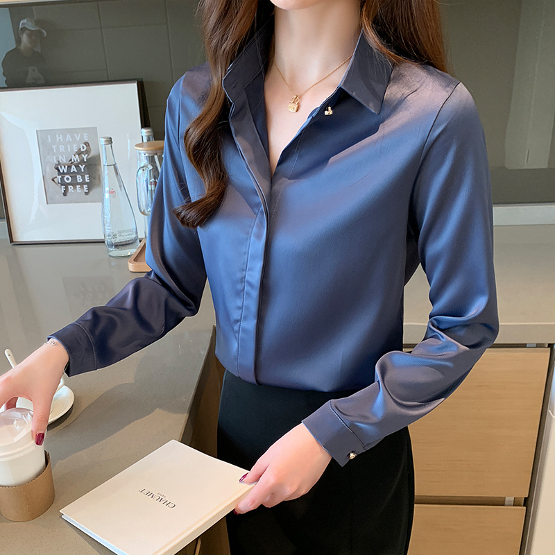 Spring Korean Fashion Silk Women Blouses Satin Solid Womens Tops and Blouses Plus Size XXXL Office Lady Long Sleeve Women Shirts