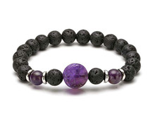 FYJS Unique Natural Purple Amethysts Engraved Tree of Life Connect 8 mm Round Beads Black Lava Stone Bracelet